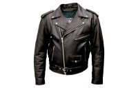 Black Friday Sale - Allstate Leather Inc. Men's Black Buffalo Leather Motorcycle Jacket - AL2010-46