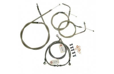 "Black Friday Sale - Baron Custom Accessories Stainless Handlebar Cable and Line Kit for Yamaha for 15""-17"" Bars - BA-8021KT-16"