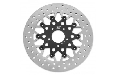 Black Friday Sale - Twin Power Front Black Floating Mesh Style Brake Rotor - 1402TB