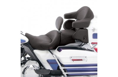 Black Friday Sale - Mustang Heated Super Touring Seat Plain with Driver Backrest - 79643