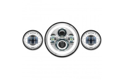 "Black Friday Sale - HogWorkz LED 7"" Chrome HaloMaker Headlight with Auxiliary Passing Lamps - HW167004-HW195203"