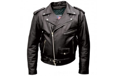 Black Friday Sale - Allstate Leather Inc. Men's Tall Black Buffalo Leather Motorcycle Jacket - AL2017-48