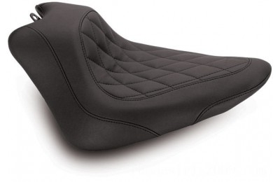 Black Friday Sale - Mustang Black Wide Tripper Solo Seat with Diamond Stitching - 76762