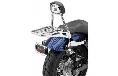 "Black Friday Sale - Cobra Chrome Quick Detachable 14"" Round Bar Sissy Bar with Backrest - 602-2004"