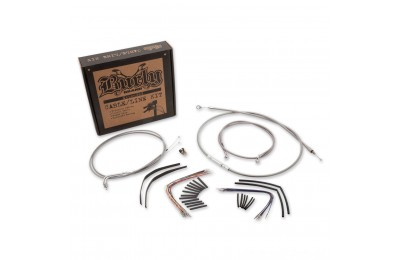 "Black Friday Sale - Burly Brand 16"" Braided Stainless Ape Hanger Cable/Line/Wiring Kit - B30-1080"