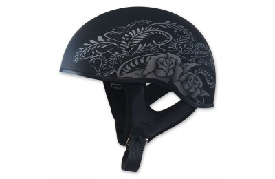 Black Friday Sale - GMAX HH-65 Naked Rose Flat Black/Silver Half Helmet - 72-5637S