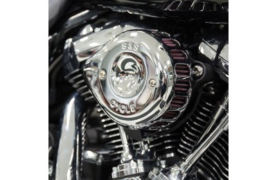 Black Friday Sale - S&S Cycle Mini Teardrop Stealth Air Cleaner Chrome - 170-0435A