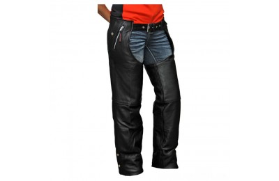Black Friday Sale - Vance Leathers Unisex Four Pocket Black Leather Chaps - VL811TG-XL
