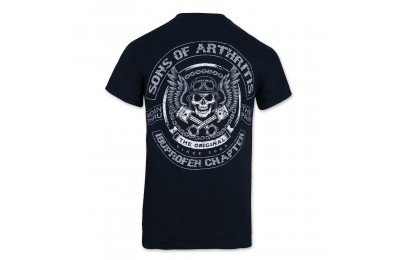 Black Friday Sale - Sons of Arthritis Men's Skulls & Pistons Black T-Shirt - 186