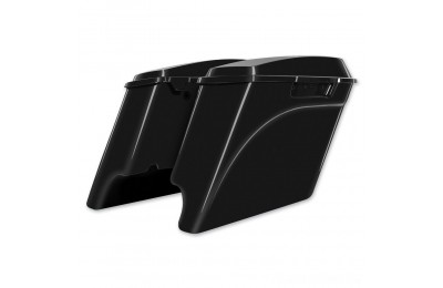 Black Friday Sale - HogWorkz 4″ Vivid Black Extended Saddlebags with Dual Cut-Out - HW149008