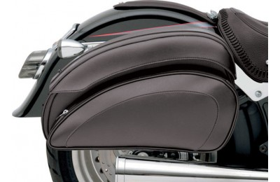 Black Friday Sale - Saddlemen Cruis'N Deluxe Saddlebag Set with Chrome Supports - 3501-0718