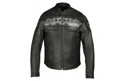 Black Friday Sale - Vance Leathers Men's Reflective Skulls Black Leather Jacket - VL535-XL