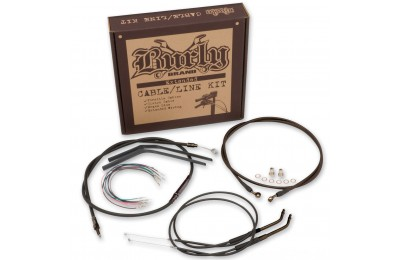 "Black Friday Sale - Burly Brand Black 14"" Ape Hanger Cable/Brake Kit - B30-1009"