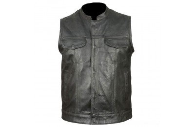 Black Friday Sale - Vance Leathers Men's Classic Club Black Leather Vest - VL914-LG
