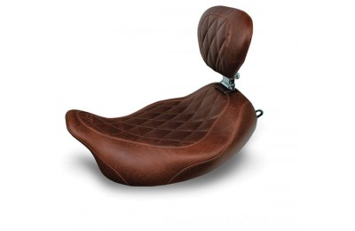 Black Friday Sale - Mustang Distressed Brown Wide Tripper Solo Seat with Diamond Stitching and Backrest - 79811
