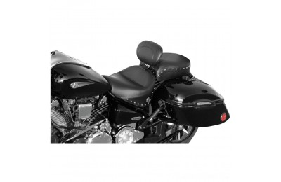 Black Friday Sale - Mustang 2-piece Wide Studded Touring Seat with Driver Backrest - 79190