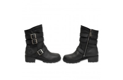 Black Friday Sale - Milwaukee Motorcycle Clothing Co. Women's Cameo Black Leather Boots - MB 25318