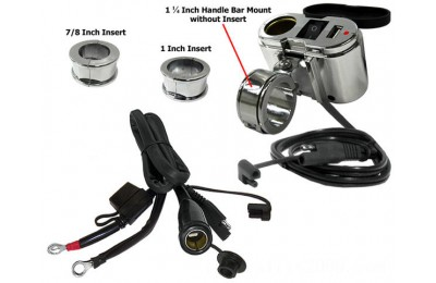 Black Friday Sale - Eklipes Chrome Cobra USB and 12 Volt Socket Charging System - EK1-110