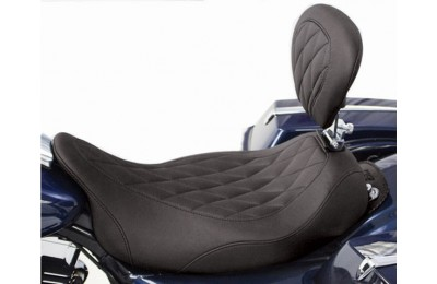 Black Friday Sale - Mustang Black Wide Tripper Solo Seat with Diamond Stitching and Backrest - 79725