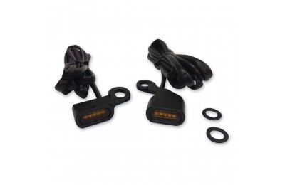 Black Friday Sale - Drag Specialties Black LED Handlebar Marker Lights with Amber Lens - 2040-2130