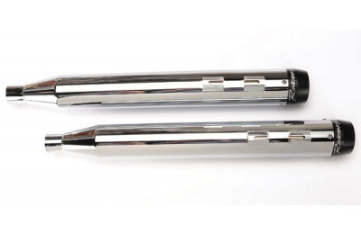 Black Friday Sale - Rinehart Racing 3-1/2″ Slip-On Mufflers Chrome with Black End Caps - 500-0100