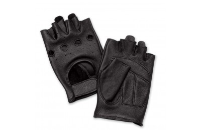 Black Friday Sale - J&P Cycles Fingerless Deerskin Gloves with Easy-Pull Tabs - NG545EZP