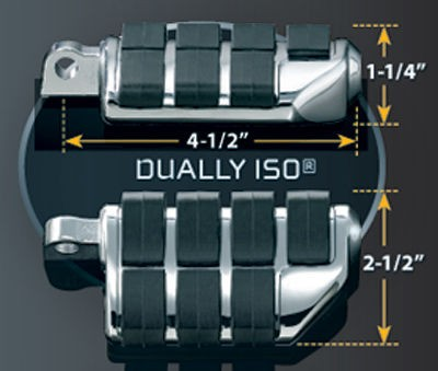 Black Friday Sale - Kuryakyn Longhorn Offset Dually Highway Pegs with 1-1/2″ Magnum Quick Clamps - 4574