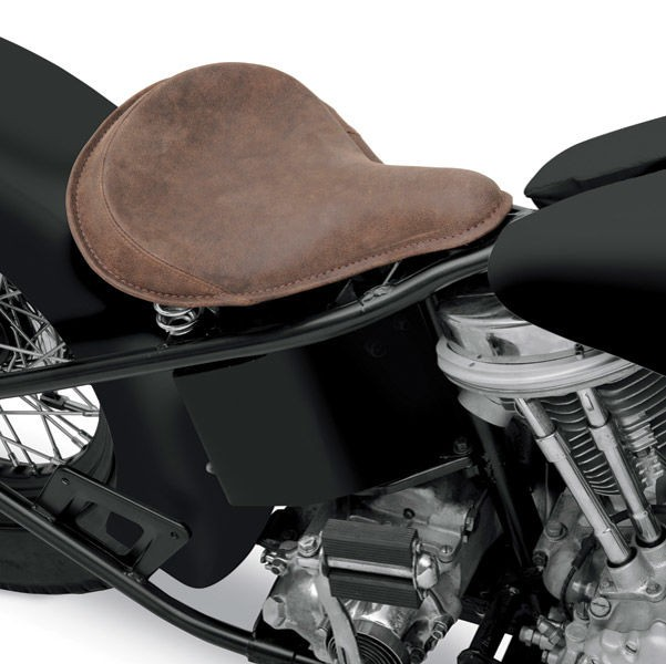 Black Friday Sale - Drag Specialties Large Spring Solo Seat with Distressed Brown Leather and Perimeter Stitched - 08060050
