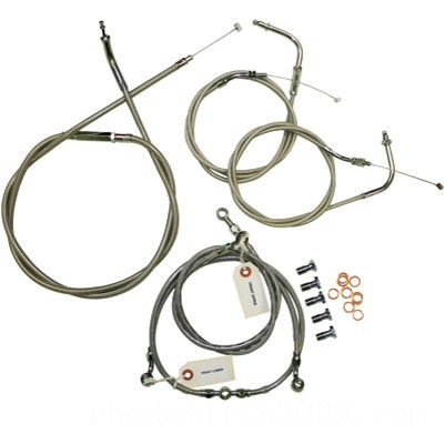 """Black Friday Sale - Baron Custom Accessories Stainless Handlebar Cable and Line Kit for 12""""-14"""" Bars - BA-8074KT-12"""